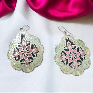 ARTISAN Indian Stained Glass Statement Earrings